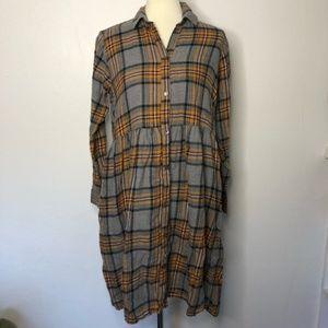 Monki plaid flannel mustard shirt dress oversized
